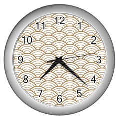 Gold,white,art Deco,vintage,shell Pattern,asian Pattern,elegant,chic,beautiful Wall Clocks (silver)