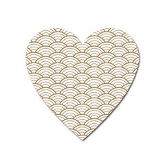 Gold,white,art Deco,vintage,shell Pattern,asian Pattern,elegant,chic,beautiful Heart Magnet