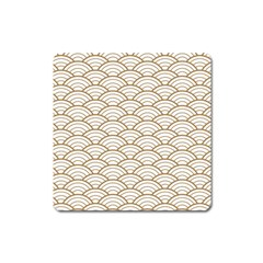 Gold,white,art Deco,vintage,shell Pattern,asian Pattern,elegant,chic,beautiful Square Magnet