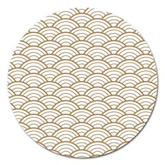 Gold,white,art Deco,vintage,shell Pattern,asian Pattern,elegant,chic,beautiful Magnet 5  (round)