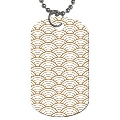 Gold,white,art Deco,vintage,shell Pattern,asian Pattern,elegant,chic,beautiful Dog Tag (one Side)