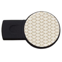 Gold,white,art Deco,vintage,shell Pattern,asian Pattern,elegant,chic,beautiful Usb Flash Drive Round (2 Gb)