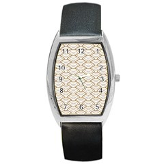 Gold,white,art Deco,vintage,shell Pattern,asian Pattern,elegant,chic,beautiful Barrel Style Metal Watch