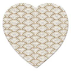 Gold,white,art Deco,vintage,shell Pattern,asian Pattern,elegant,chic,beautiful Jigsaw Puzzle (heart)