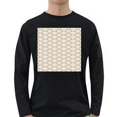 Gold,white,art Deco,vintage,shell Pattern,asian Pattern,elegant,chic,beautiful Long Sleeve Dark T Shirts