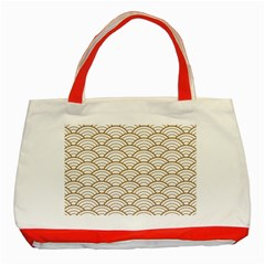 Gold,white,art Deco,vintage,shell Pattern,asian Pattern,elegant,chic,beautiful Classic Tote Bag (red)