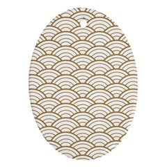 Gold,white,art Deco,vintage,shell Pattern,asian Pattern,elegant,chic,beautiful Oval Ornament (two Sides)