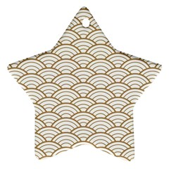 Gold,white,art Deco,vintage,shell Pattern,asian Pattern,elegant,chic,beautiful Star Ornament (two Sides)