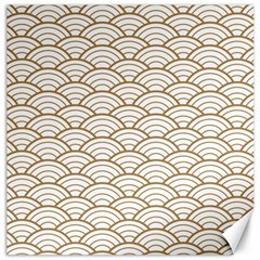 Gold,white,art Deco,vintage,shell Pattern,asian Pattern,elegant,chic,beautiful Canvas 16  X 16
