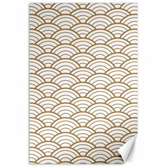 Gold,white,art Deco,vintage,shell Pattern,asian Pattern,elegant,chic,beautiful Canvas 24  X 36