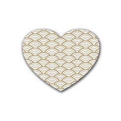 Gold,white,art Deco,vintage,shell Pattern,asian Pattern,elegant,chic,beautiful Heart Coaster (4 Pack)