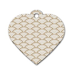 Gold,white,art Deco,vintage,shell Pattern,asian Pattern,elegant,chic,beautiful Dog Tag Heart (two Sides)