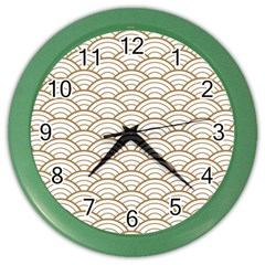 Gold,white,art Deco,vintage,shell Pattern,asian Pattern,elegant,chic,beautiful Color Wall Clocks