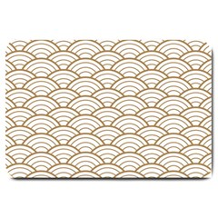 Gold,white,art Deco,vintage,shell Pattern,asian Pattern,elegant,chic,beautiful Large Doormat