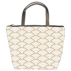 Gold,white,art Deco,vintage,shell Pattern,asian Pattern,elegant,chic,beautiful Bucket Bags