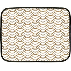 Gold,white,art Deco,vintage,shell Pattern,asian Pattern,elegant,chic,beautiful Fleece Blanket (mini)