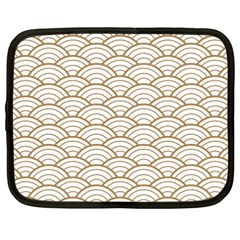 Gold,white,art Deco,vintage,shell Pattern,asian Pattern,elegant,chic,beautiful Netbook Case (xxl)