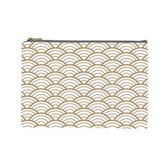 Gold,white,art Deco,vintage,shell Pattern,asian Pattern,elegant,chic,beautiful Cosmetic Bag (large)