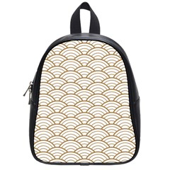 Gold,white,art Deco,vintage,shell Pattern,asian Pattern,elegant,chic,beautiful School Bag (small)