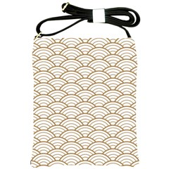 Gold,white,art Deco,vintage,shell Pattern,asian Pattern,elegant,chic,beautiful Shoulder Sling Bags