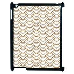 Gold,white,art Deco,vintage,shell Pattern,asian Pattern,elegant,chic,beautiful Apple Ipad 2 Case (black)