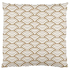 Gold,white,art Deco,vintage,shell Pattern,asian Pattern,elegant,chic,beautiful Large Cushion Case (one Side)