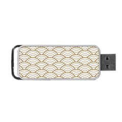 Gold,white,art Deco,vintage,shell Pattern,asian Pattern,elegant,chic,beautiful Portable Usb Flash (one Side)