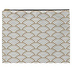 Gold,white,art Deco,vintage,shell Pattern,asian Pattern,elegant,chic,beautiful Cosmetic Bag (xxxl)