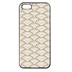 Gold,white,art Deco,vintage,shell Pattern,asian Pattern,elegant,chic,beautiful Apple Iphone 5 Seamless Case (black)