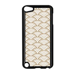 Gold,white,art Deco,vintage,shell Pattern,asian Pattern,elegant,chic,beautiful Apple Ipod Touch 5 Case (black)