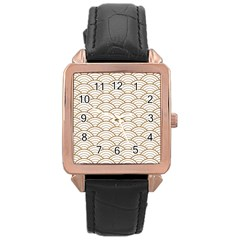 Gold,white,art Deco,vintage,shell Pattern,asian Pattern,elegant,chic,beautiful Rose Gold Leather Watch