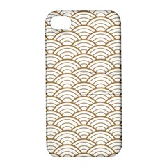 Gold,white,art Deco,vintage,shell Pattern,asian Pattern,elegant,chic,beautiful Apple Iphone 4/4s Hardshell Case With Stand