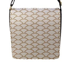 Gold,white,art Deco,vintage,shell Pattern,asian Pattern,elegant,chic,beautiful Flap Messenger Bag (l)