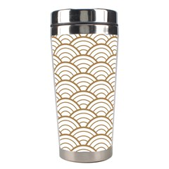 Gold,white,art Deco,vintage,shell Pattern,asian Pattern,elegant,chic,beautiful Stainless Steel Travel Tumblers
