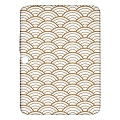 Gold,white,art Deco,vintage,shell Pattern,asian Pattern,elegant,chic,beautiful Samsung Galaxy Tab 3 (10 1 ) P5200 Hardshell Case