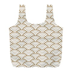 Gold,white,art Deco,vintage,shell Pattern,asian Pattern,elegant,chic,beautiful Full Print Recycle Bags (l)