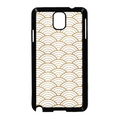 Gold,white,art Deco,vintage,shell Pattern,asian Pattern,elegant,chic,beautiful Samsung Galaxy Note 3 Neo Hardshell Case (black)