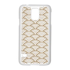 Gold,white,art Deco,vintage,shell Pattern,asian Pattern,elegant,chic,beautiful Samsung Galaxy S5 Case (white)