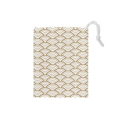 Gold,white,art Deco,vintage,shell Pattern,asian Pattern,elegant,chic,beautiful Drawstring Pouches (small)