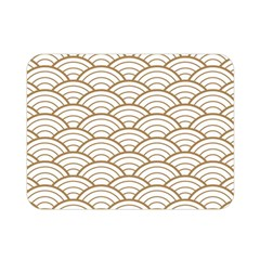 Gold,white,art Deco,vintage,shell Pattern,asian Pattern,elegant,chic,beautiful Double Sided Flano Blanket (mini)