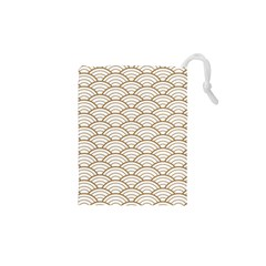 Gold,white,art Deco,vintage,shell Pattern,asian Pattern,elegant,chic,beautiful Drawstring Pouches (xs)