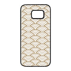 Gold,white,art Deco,vintage,shell Pattern,asian Pattern,elegant,chic,beautiful Samsung Galaxy S7 Edge Black Seamless Case