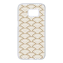 Gold,white,art Deco,vintage,shell Pattern,asian Pattern,elegant,chic,beautiful Samsung Galaxy S7 Edge White Seamless Case