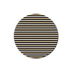 Black And Gold Stripes Rubber Round Coaster (4 Pack)