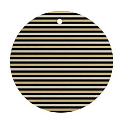 Black And Gold Stripes Round Ornament (two Sides)