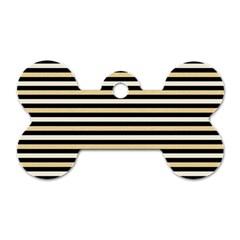 Black And Gold Stripes Dog Tag Bone (one Side)