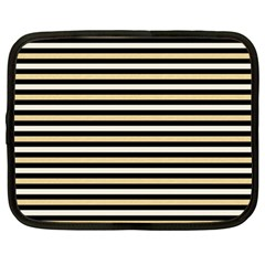 Black And Gold Stripes Netbook Case (xl)