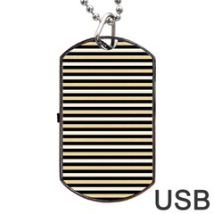 Black And Gold Stripes Dog Tag Usb Flash (two Sides)