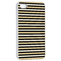 Black And Gold Stripes Apple Iphone 4/4s Seamless Case (white)