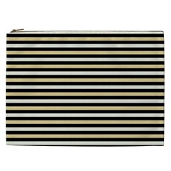 Black And Gold Stripes Cosmetic Bag (xxl)